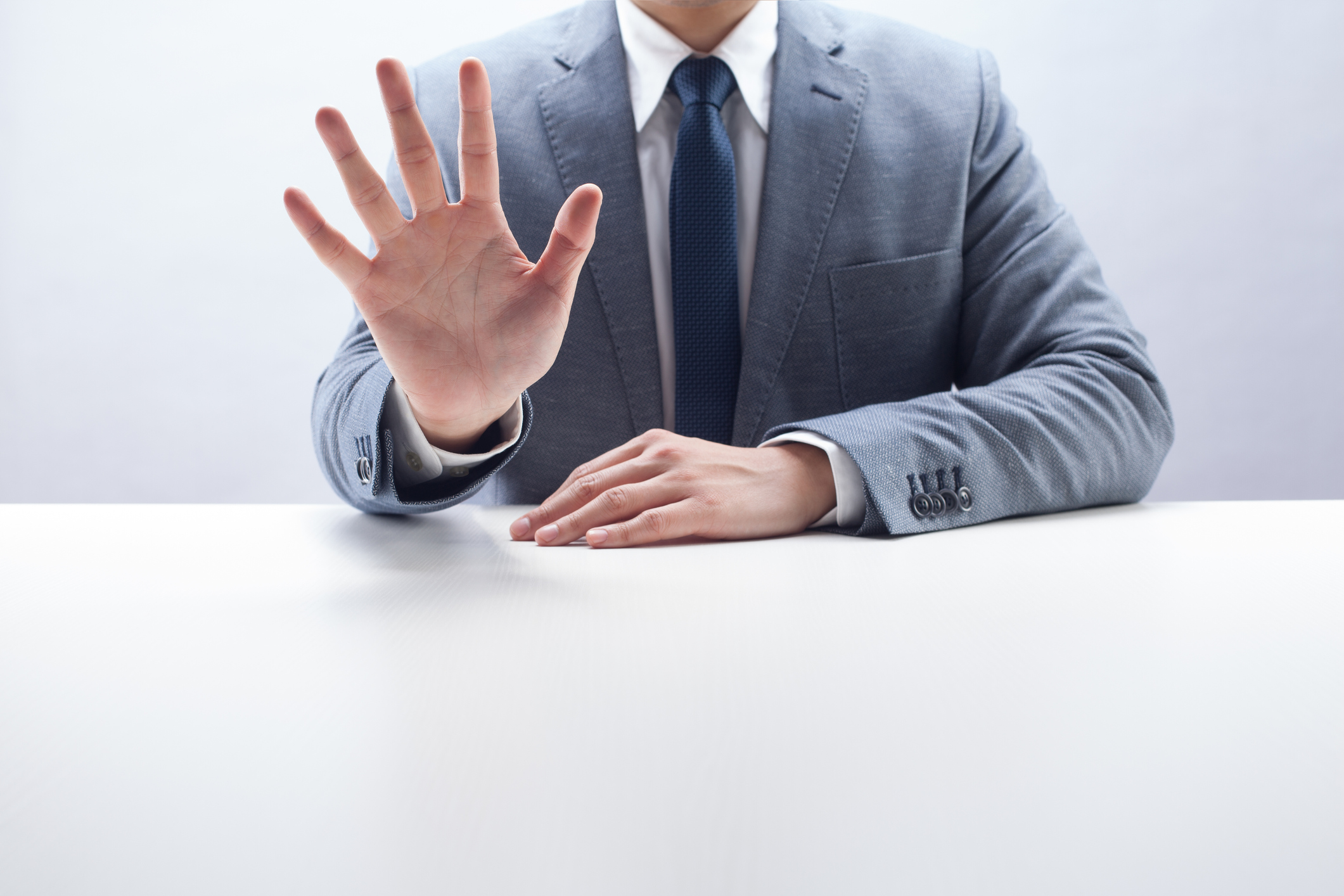 Businessman Counting Five