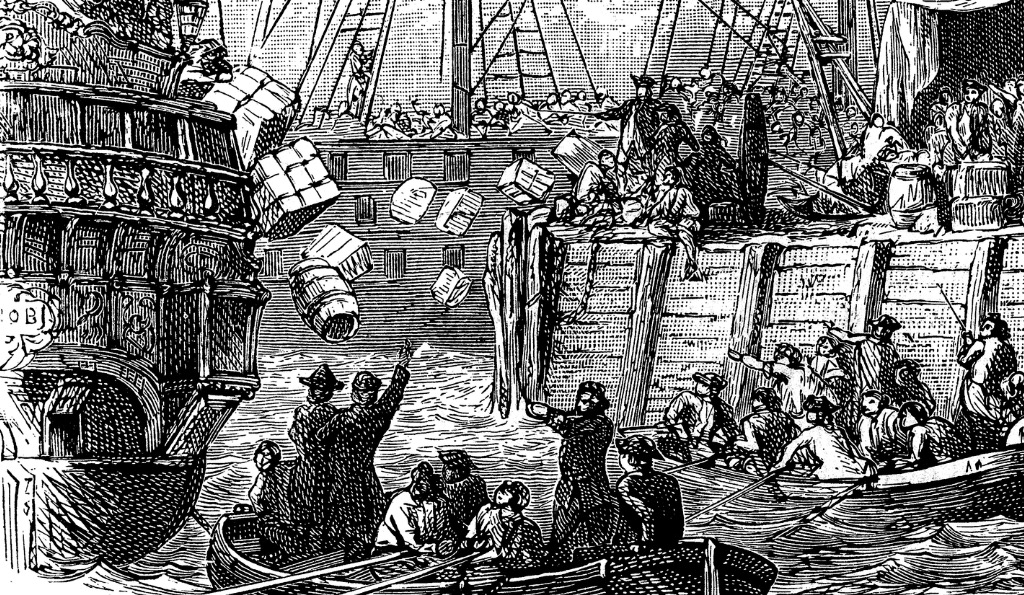 the-boston-tea-party-was-a-political-protest-by-the-sons-of-liberty-illustration-id936872246