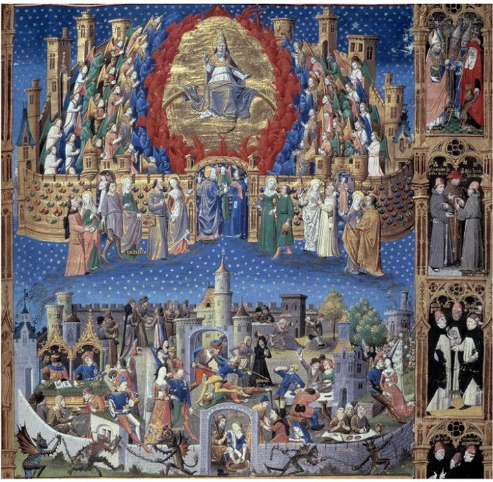 """Representation of the city of God (celeste) and the city of men (earthly) Miniature taken from """""""" De civitate dei"""""""" (The city of God) by Saint Augustine of Hippo (354-430), translated by Raoul de Presles around 1480. Macon Municipal Library"""