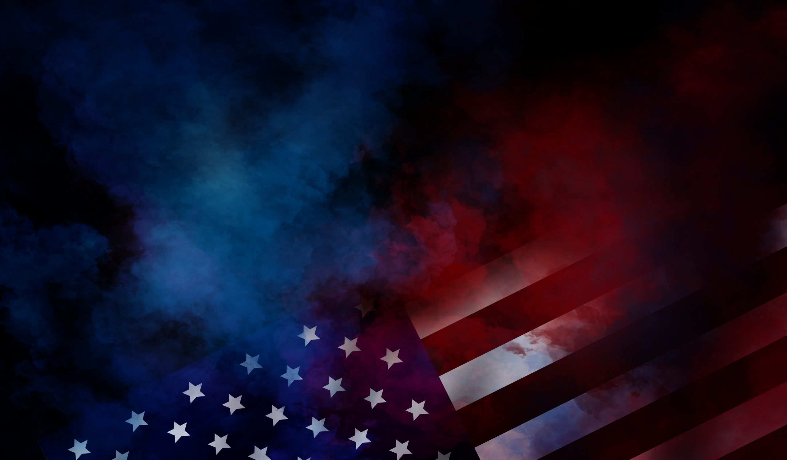 flag USA background design for independence, veterans, labor, memorial day. colorful smoke on black background