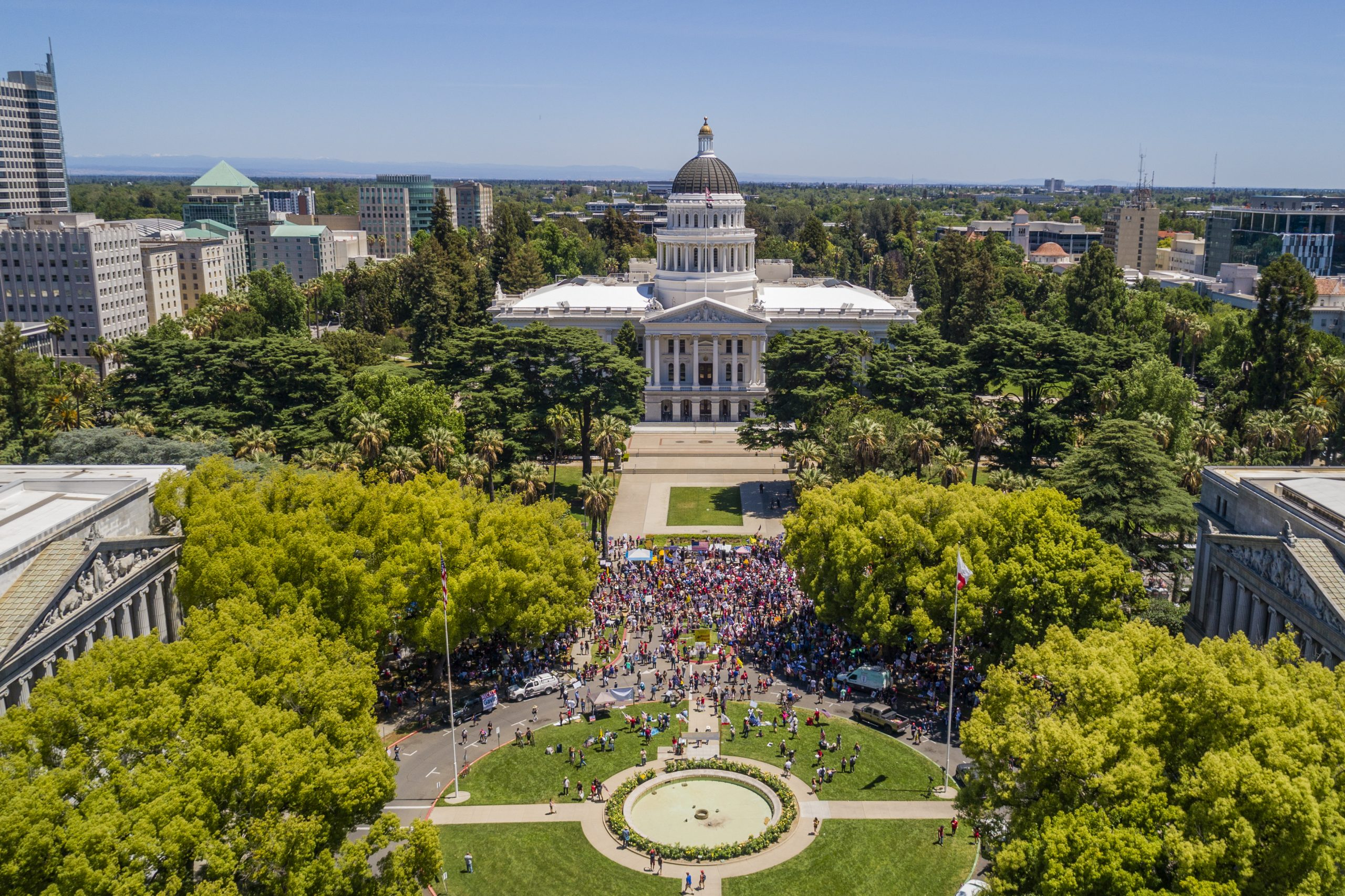 Aerial Photo of Sacramento State Capitol Building Demonstration