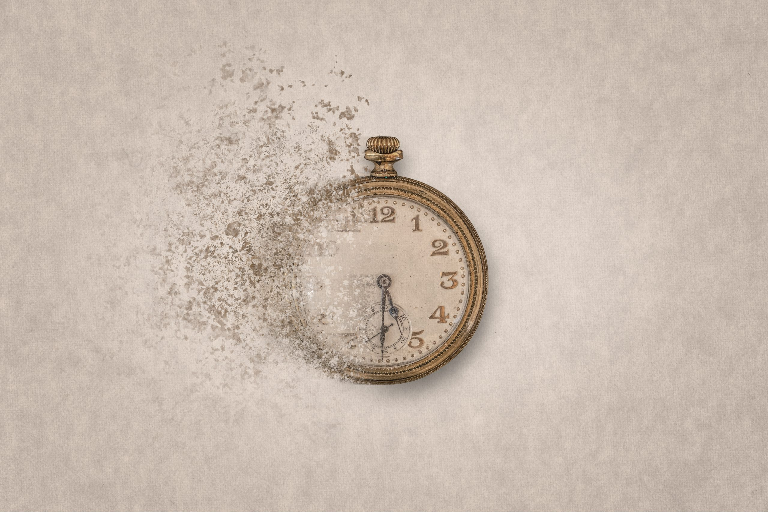 Ancient clock on a clear background disintegrates into small pieces.